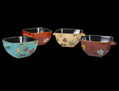 "1612 - Soup Bowl 6"" - Hibiscus Design - 4 Assorted Colors"