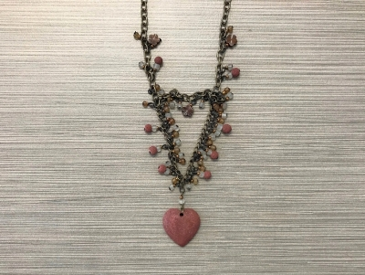 N-297 Stone and Glass Pendant Necklace - Brown Heart