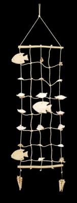 Wooden Fish & Shell Wall Hangings