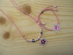 N-8406 - M.O.P. Flower Pendant Necklace & Bracelet Combo (Light Pink)