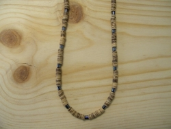 N-8388 - Tan Coco & Hematite Necklace
