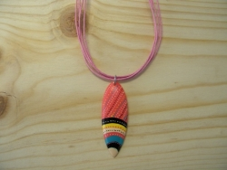 N-8399 - Tribal Design Resin Surf Board on Pink Cord