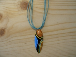N-8398 - Tribal Design Resin Surf Board on Turquoise Cord