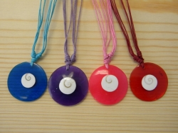N-8429 - Resin Pendant Necklace With Shell Inlay (Assorted Colors)