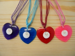 N-8428 - Resin Heart Pendant Necklace With Shell Inlay (Assorted Colors)