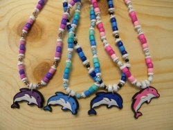 N-8427 - PVC Dolphin Pendant Necklace (Assorted Colors)