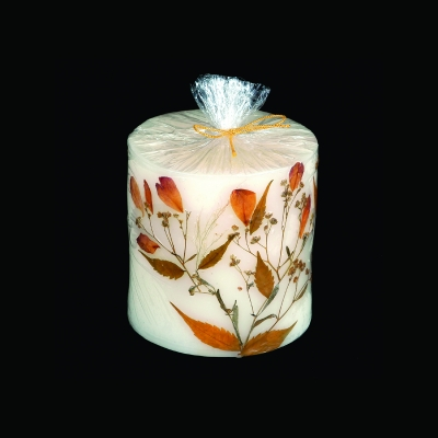 Pillar Candle with Dried Flowers