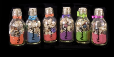 G1003 - Round Glass Bottle with Sand & Shells - 2oz.
