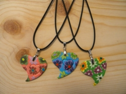 N-8357 - Fimo Heart Pendant Necklace (Assorted Colors)