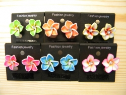 ER-8602 - Small Fimo Flower Earrings with Jewel (Assorted Colors)