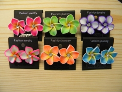 ER-8603 - Large Fimo Flower Earrings with Jewel (Assorted Colors)