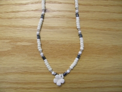 N-8478 - Fimo Flower w/ Hematite and White Coco Necklace