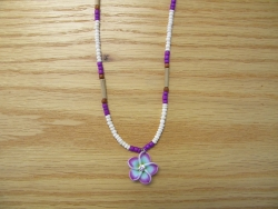 N-8495 - Purple & White Fimo Flower Necklace