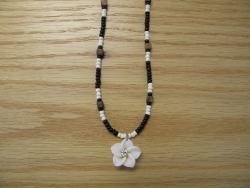 N-8496 -  White, Black & Bown Fimo Flower Necklace
