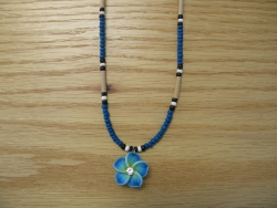 N-8498 -  Blue Fimo Flower Necklace