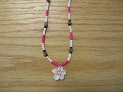 N-8499 -  Pink & White Fimo Flower Necklace