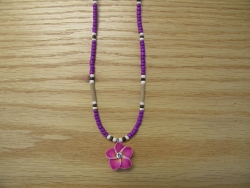 N-8500 -  Purple Fimo Flower Necklace