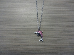 N-8533 - Stone Inlay DolphinPendant Necklace - Pink
