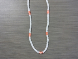 N-8545 - White & Neon Orange Clam Shell Necklace