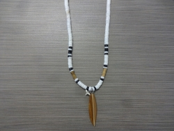 SN-8148 - Shark Tooth & Surfboard Clam Shell Necklace